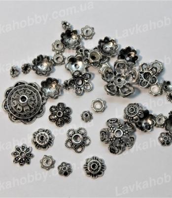 Шапочки и конусы 170003, mix серебро
