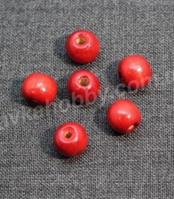 Бусины деревяные красные 100038